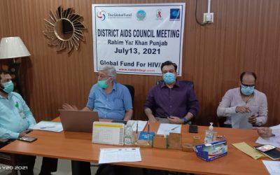 District AIDS Council Meeting in Rahim Yar Khan